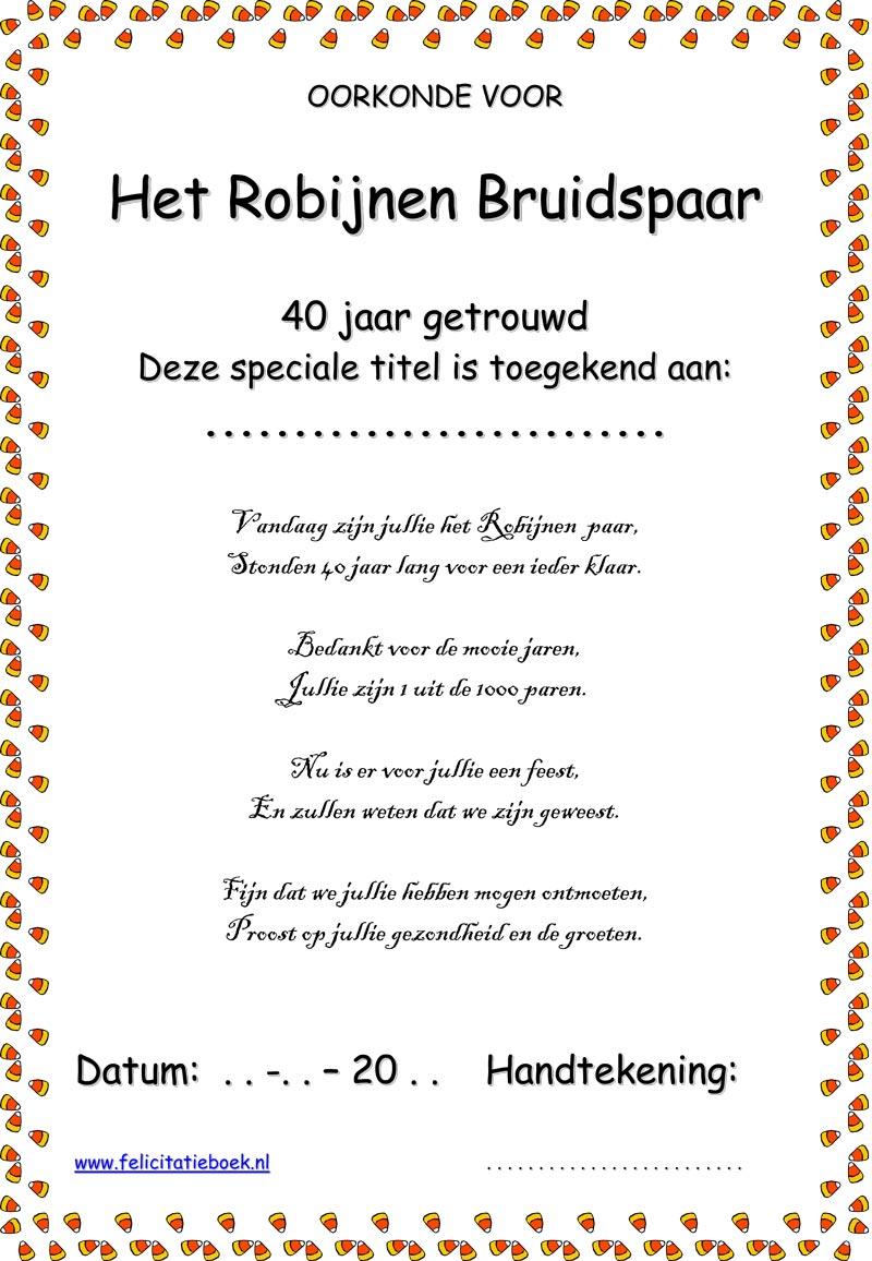 jubileum 40 jaar getrouwd gedichten Gefeliciteerd 40 Jaar Getrouwd Gedicht   ARCHIDEV jubileum 40 jaar getrouwd gedichten
