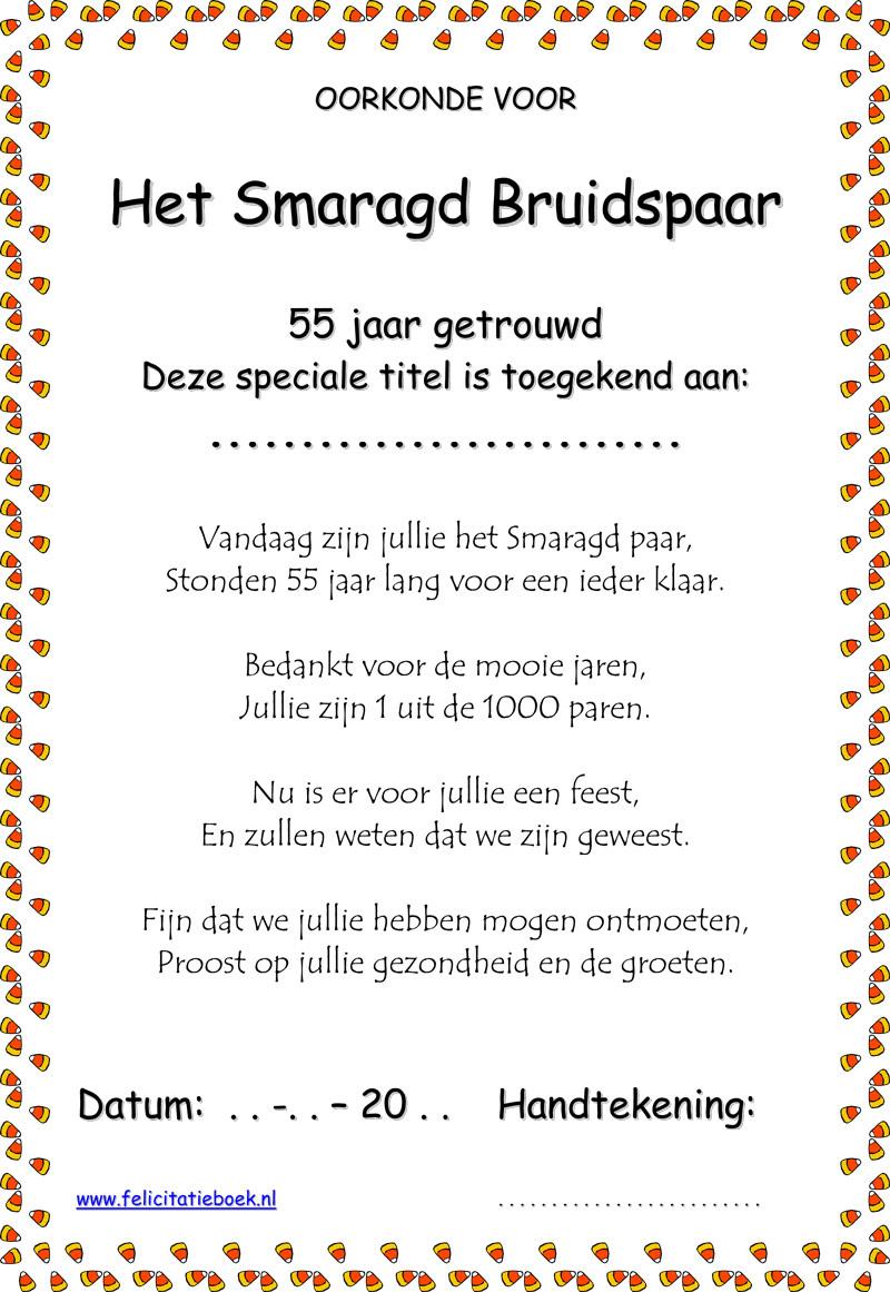 tekst 55 jaar getrouwd 55 jaar getrouwd Smaragd bruiloft bruidspaar gedichten spreuken  tekst 55 jaar getrouwd