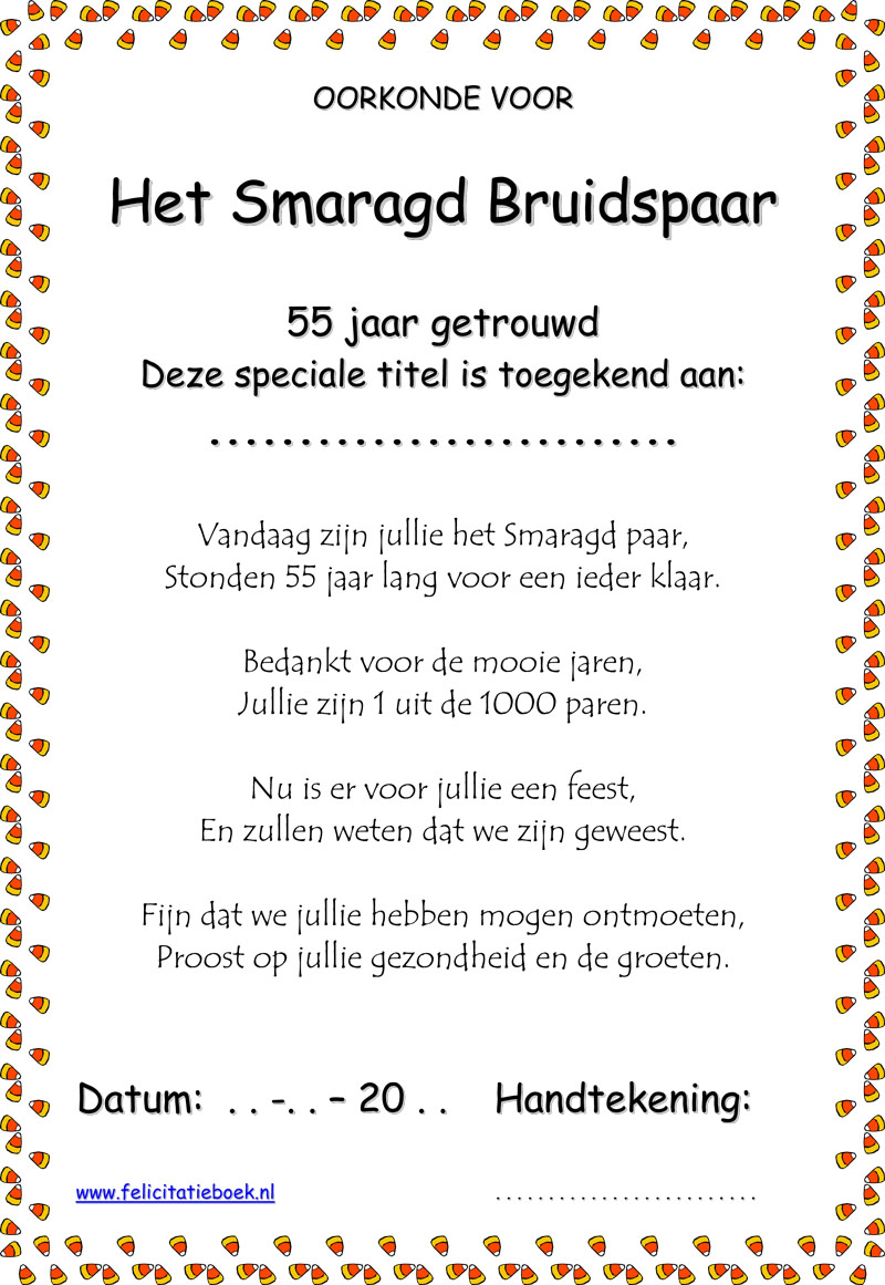 55 Jaar Getrouwd Smaragd Bruiloft Bruidspaar Gedichten Spreuken